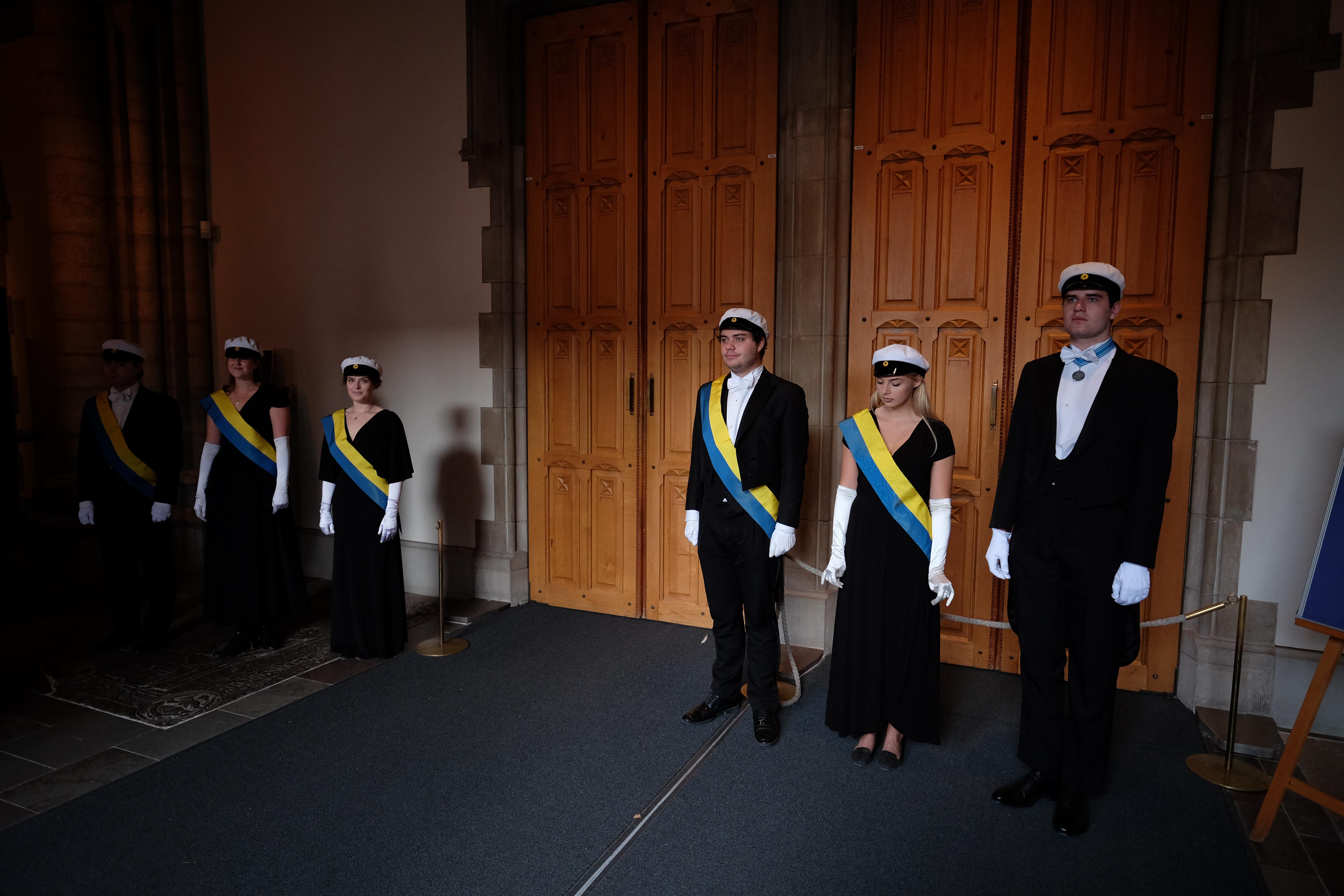 Student representatives at the traditional wreath laying ceremony at Uppsala Cathedral