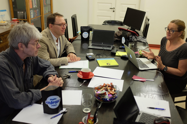 Lise Rakne (University of Bergen), Jörgen Hermansson (Uppsala University) and Vello Pettai (Tartu University) deliberating the nominations.